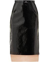 N°21 Side-slit Laminated Embossed-dot Leather Skirt - Black