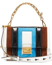 Fendi - Kan U Medium Leather And Suede Cross-body Bag - Lyst