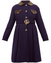 Gucci Leopard-print Trim Single-breasted Wool Coat - Blue