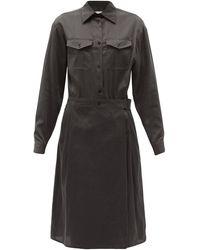 Lemaire ラップスカート コットンサテンシャツドレス - ブラック