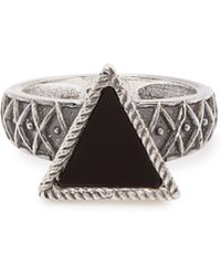 Emanuele Bicocchi - Triangle Charm Silver And Onyx Ring - Lyst
