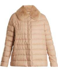 Moncler Gamme Rouge Champlain Fur Trimmed Quilted Down Cashmere Jacket - Natural