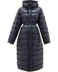 Moncler Manteau matelassé en duvet à capuche Cobalt - Bleu