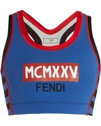 Fendi - Striped-detail Logo-print Performance Bra - Lyst