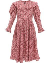Horror Vacui Robe en coton à imprimé floral Gertrude - Rouge
