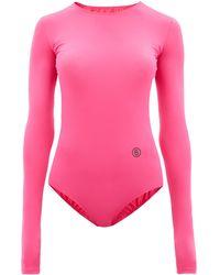 MM6 by Maison Martin Margiela Logo-print Jersey Bodysuit - Pink