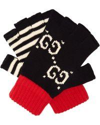 Gucci - Mitaines dépareillées en coton à logo en intarsia - Lyst