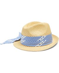 Miu Miu - Cotton Scarf Embellished Straw Hat - Lyst