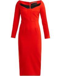 Roland Mouret Ardon Sweetheart Neckline Cady Dress - Red