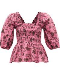 Ganni Shirred Rose-print Organic-cotton Blouse - Pink