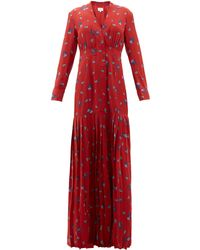 Rebecca de Ravenel Paisley-print Silk Crepe De Chine Maxi Dress - Red