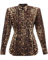 Dolce & Gabbana パデッドショルダー レオパード シルクブレンドブラウス - ブラウン