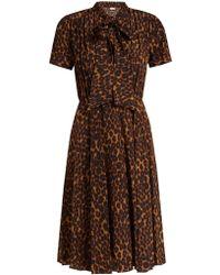 MASSCOB - Delon Leopard-print Silk Midi Dress - Lyst