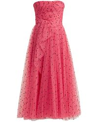 Carolina Herrera Flocked Waterfall-panel Strapless Tulle Gown - Pink