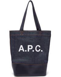 """A.P.C. - """"cabas Axelle"""" Blue Denim Bag - Lyst"""