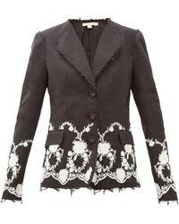 Brock Collection Floral-embroidered Tweed Jacket - Black