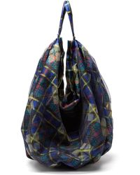 Chopova Lowena Checked-twill Shoulder Bag - Blue