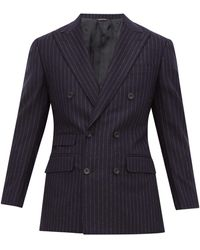 Thom Sweeney Chalk Stripe Double Breasted Wool Suit - Blue