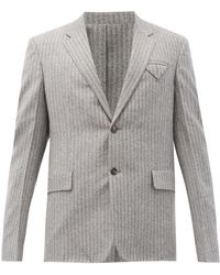 Bottega Veneta ヘリンボーンブラッシュドウール シングルジャケット - グレー