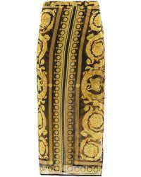 Versace Baroque-print Silk-georgette Sarong - Yellow