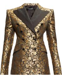 Dolce & Gabbana Double-breasted Floral-brocade Jacket - Metallic