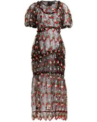 Simone Rocha - Floral Embroidered Tulle Midi Dress - Lyst