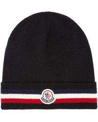 Moncler Striped Wool Beanie Hat - Black