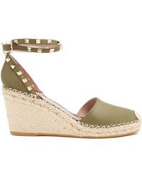 Valentino - Rockstud Leather Wedge Espadrilles - Lyst