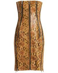 Richard Quinn Python-effect Leather Dress - Brown