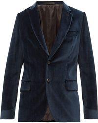 Paul Smith Soho Fit Single Breasted Velvet Blazer - Blue