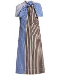 Marni - Knot-front Striped Cotton-poplin Dress - Lyst
