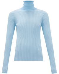 Dodo Bar Or Stacy Roll-neck Ribbed Jumper - Blue