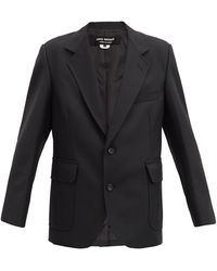 Junya Watanabe エルボーパッチ ハウンドトゥース シングルジャケット - ブラック