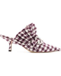 MIDNIGHT 00 Crystal-moon Checked Cotton Mules - Multicolour