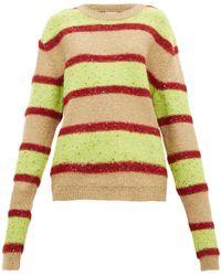 Ashish Oversized Sequinned Sparkle-knit Stripe Sweater - Green
