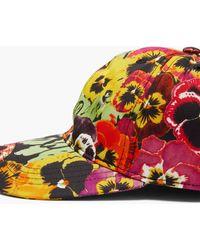 Loewe Pansy-print Logo-patch Cotton Baseball Cap - Multicolour