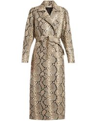 Attico - Python-print Belted Leather Coat - Lyst