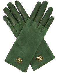 Gucci Gg Plaque Suede And Leather Gloves - Green