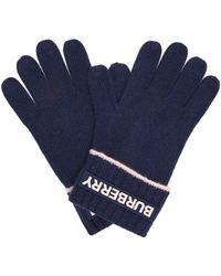 Burberry Logo-appliqué Cashmere Gloves - Blue