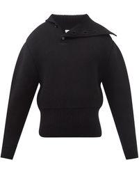 Bottega Veneta Asymmetric-collar Wool Jumper - Black