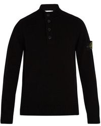 Stone Island - Buttoned Wool-blend Sweater - Lyst