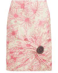 Calvin Klein ブローチディテール フローラルプリント シルクスカート - ピンク