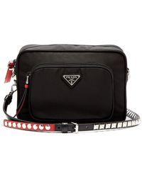 Prada - New Vela Mini Studded Nylon Cross Body Bag - Lyst