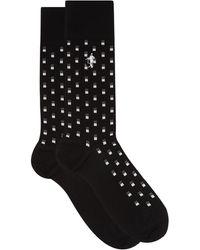 London Sock Company ブラック タイ ドットジャカード コットンブレンドソックス