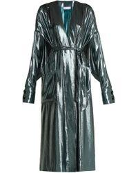 Wanda Nylon | V-neck Belted Side-slit Silk-blend Dress | Lyst