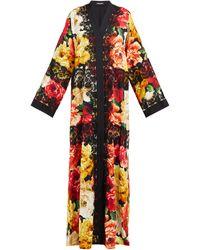 Dolce & Gabbana Manteau en soie mélangée à imprimé pivoines - Multicolore