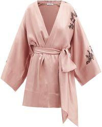 Carine Gilson レーストリム クロップド シルクサテンナイトガウン - ピンク