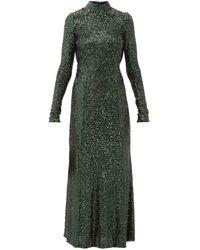Galvan London モダン ラブ バックレス スパンコール ドレス - グリーン