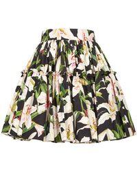 Dolce & Gabbana Lilium Print Poplin Mini Skirt - Black