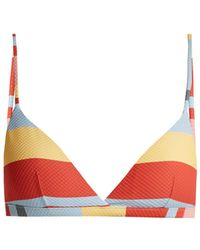 Asceno - - Striped Print Triangle Bikini Top - Womens - Multi Stripe - Lyst